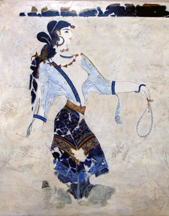 Woman with a necklace a theran mural reproduction by for Ancient greek mural