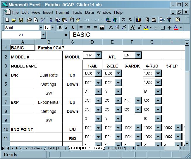 Futaba 9cap excel 97 worksheets for rc sailplane settings description of worksheets for glid1flp screenshot thecheapjerseys Choice Image
